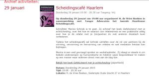 29 januari Haarlem Echtscheidingscafe met Marina Schriek